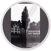 Black Lucerne Round Beach Towel