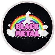 Black Metal Funny Unicorn / Rainbow Mosh Parody Design Round Beach Towel