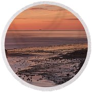 Black Nab Saltwick Bay Round Beach Towel