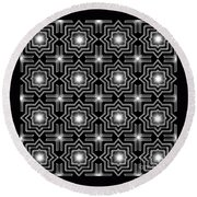 Black Night Lights Round Beach Towel