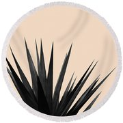 Black Palms On Pale Pink Round Beach Towel