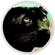 Black Panther Animal Art Round Beach Towel