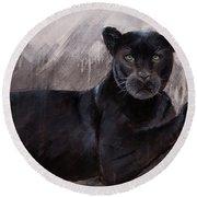 Black Panther  Round Beach Towel