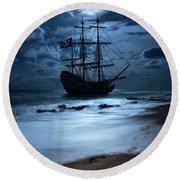 Black Pearl Pirate Ship Landing Under Full Moon Round Beach Towel