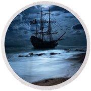 Black Pearl Pirate Ship Landing Under Full Moon Round Beach Towel by Justin Kelefas