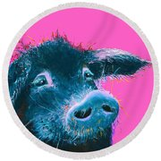 Black Pig Painting On Pink Background Round Beach Towel