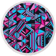 Black Pink Blue Geometric Design Round Beach Towel