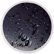 Black Rain Round Beach Towel