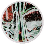 Black-red Moonlight River Tree Round Beach Towel