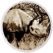 Black Rhino And Youngster Round Beach Towel