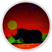 Black Rhino  Evening Round Beach Towel by Justin Moore