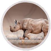 Black Rhinoceros Baby Running Round Beach Towel