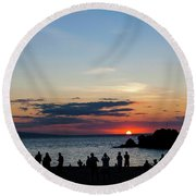 Black Rock Sunset Round Beach Towel