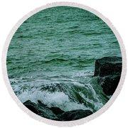Black Rocks Seascape Round Beach Towel