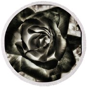 Round Beach Towel featuring the photograph Black Rose. Symbol Of Farewells by Mr Photojimsf