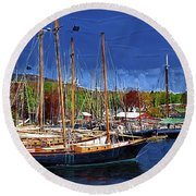 Black Sailboats Round Beach Towel by Kirt Tisdale