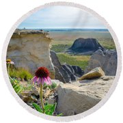Black Sampson In The Badlands Round Beach Towel