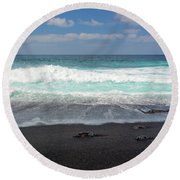 Black Sand Beach Round Beach Towel by Delphimages Photo Creations