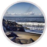 Black Sand Beach  Round Beach Towel by Douglas Barnard