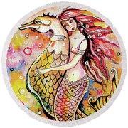 Black Sea Mermaid Round Beach Towel