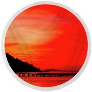 Black Sea Turned Red Round Beach Towel by Reksik004