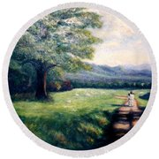 Round Beach Towel featuring the painting Black Sheep by Gail Kirtz
