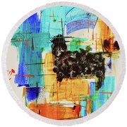 Round Beach Towel featuring the painting Black Sheep by Jeanette French