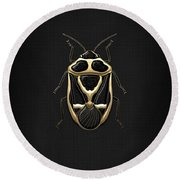 Black Shieldbug With Gold Accents  Round Beach Towel by Serge Averbukh