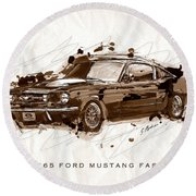 Black Stallion 1965 Ford Mustang Fastback #2 Round Beach Towel