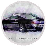 Black Stallion 1965 Ford Mustang Fastback Round Beach Towel