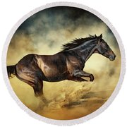 Black Stallion Horse Galloping Like A Devil Round Beach Towel