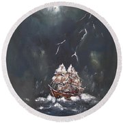 Black Storm Round Beach Towel