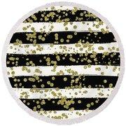 Black Stripes Gold Confetti Round Beach Towel