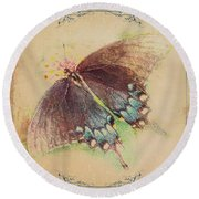 Black Swallowtail Butterfly Framed  Round Beach Towel