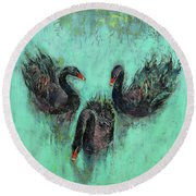 Black Swans Round Beach Towel