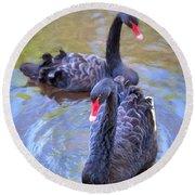 Black Swans Round Beach Towel