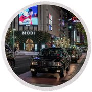 Black Taxi In Tokyo, Japan Round Beach Towel