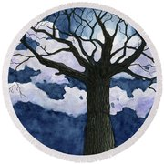 Black Tree At Night Round Beach Towel
