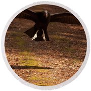 Round Beach Towel featuring the digital art Black Vulture Landing by Chris Flees