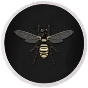 Black Wasp With Gold Accents On Black  Round Beach Towel
