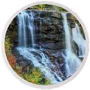 Black Water Falls #3 Round Beach Towel