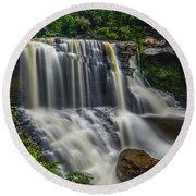 Black Water Falls Round Beach Towel