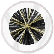 Black, White And Gold Ball- Art By Linda Woods Round Beach Towel
