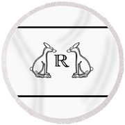 Black White Rabbits Line Round Beach Towel