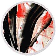 Round Beach Towel featuring the painting Black White Red Art - Tango 2 - Sharon Cummings by Sharon Cummings