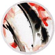 Round Beach Towel featuring the painting Black White Red Art - Tango 3 - Sharon Cummings by Sharon Cummings
