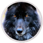 Black Wolf Round Beach Towel