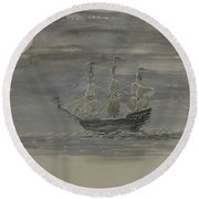 Blackbeard's Ship Round Beach Towel