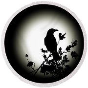 Blackbird In Silhouette  Round Beach Towel