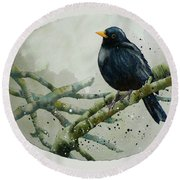 Blackbird Painting Round Beach Towel by Alison Fennell